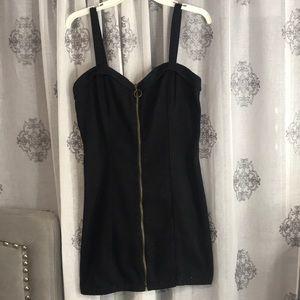 Black denim zip up dress